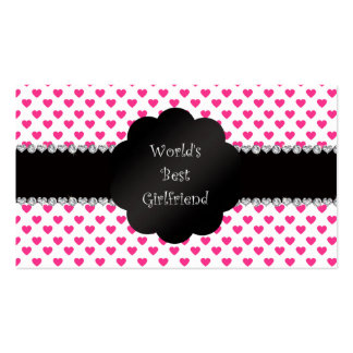World's best girlfriend pink hearts Double-Sided standard business cards (Pack of 100)