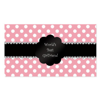 World's best girlfriend pink polka dots Double-Sided standard business cards (Pack of 100)