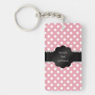 World's best girlfriend pink polka dots acrylic keychain
