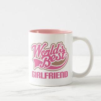 Worlds Best Girlfriend Pink Two-Tone Coffee Mug