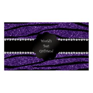 World's best girlfriend purple zebra stripes Double-Sided standard business cards (Pack of 100)