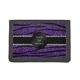 World's best girlfriend purple zebra stripes trifold wallet