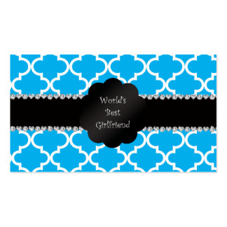 World's best girlfriend sky blue quatrefoil Double-Sided standard business cards (Pack of 100)
