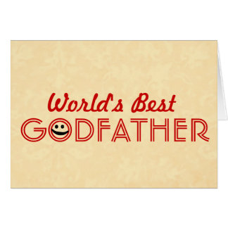 World's Best GODFATHER Funny Smiley Gold V2E Card
