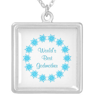 World's Best Godmother (blue) Silver Plated Necklace