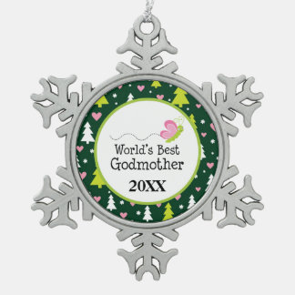 World's Best Godmother Christmas Gift Snowflake Pewter Christmas Ornament
