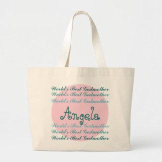 World's Best GODMOTHER Custom Name Aqua Teal Pink Large Tote Bag