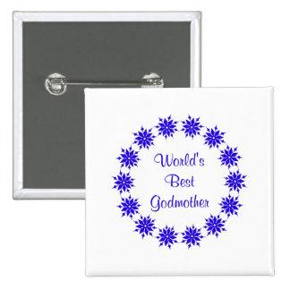 World's Best Godmother (dk. blue) Buttons