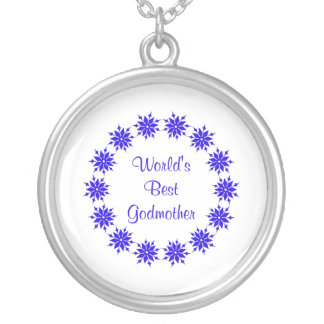 World's Best Godmother (dk. blue) Silver Plated Necklace