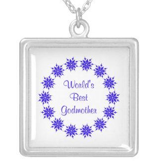 World's Best Godmother (dk. blue) Square Pendant Necklace