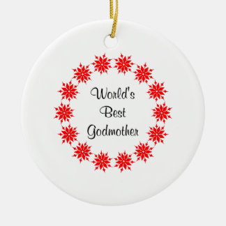 World's Best Godmother (red) Ceramic Ornament