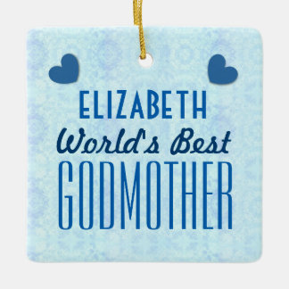 World's Best GODMOTHER with Hearts A034 Ceramic Ornament