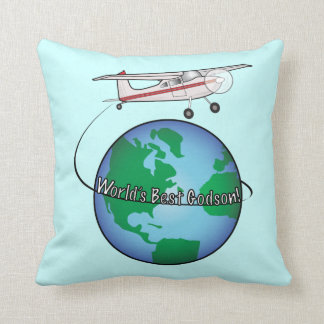 World's Best Godson with Airplane Throw Pillow