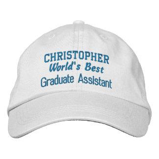 World's Best GRADUATE ASSISTANT Custom Name BLUE Embroidered Baseball Hat