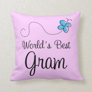 Worlds Best Gram Blue Butterfly Throw Pillow