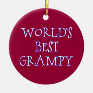 World's Best Grampy Dark Red Double-Sided Ceramic Round Christmas Ornament