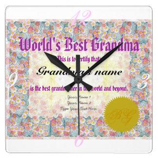 World's Best Grandma Award Certificate Clock