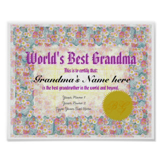 World's Best Grandma Award Certificate Print