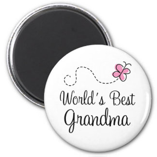 World's Best Grandma Butterfly Gift 2 Inch Round Magnet
