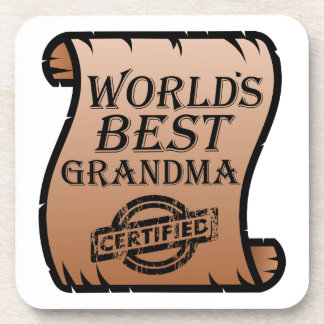 World's Best Grandma Certified Certificate Funny Coaster