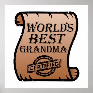 World's Best Grandma Certified Certificate Funny Poster