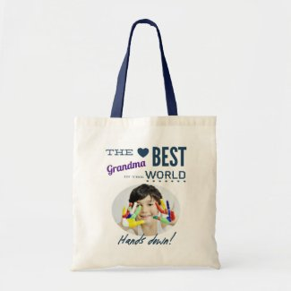 Worlds Best Grandma Custom Photo Tote Bag
