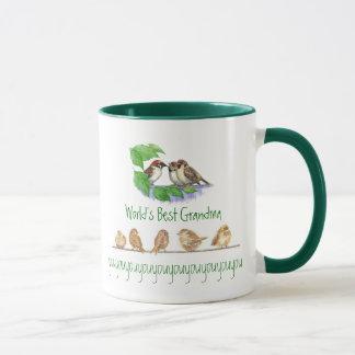 Worlds Best Grandma, Cute Bird Sparrow Family Mug