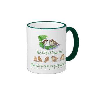 Worlds Best Grandma, Cute Bird Sparrow Family Ringer Mug