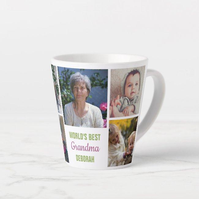 World's Best Grandma Instagram Photo Collage Name Latte Mug