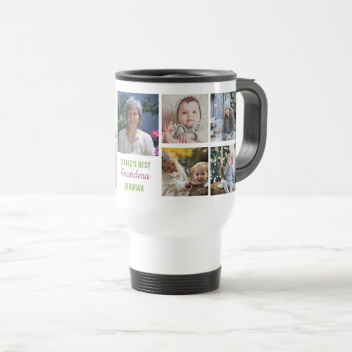 Worlds Best Grandma Instagram Photo Collage Name Travel Mug