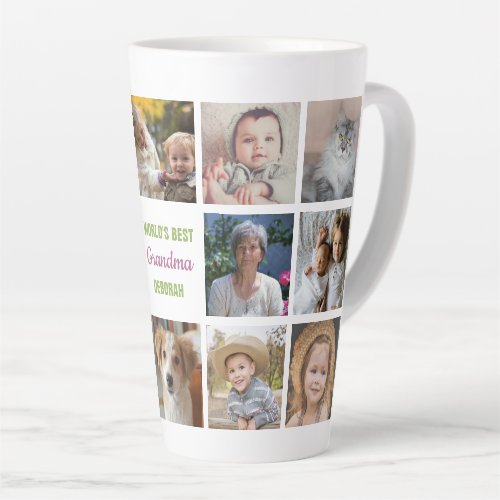 Worlds Best Grandma Name Instagram Photo Collage Latte Mug