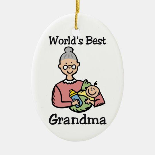 World's Best Grandma ormanent Ceramic Ornament