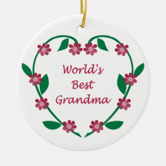 World's Best Grandma ormanent Double-Sided Ceramic Round Christmas Ornament