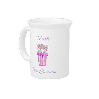 world's best grandma (pink flowers) drink pitchers
