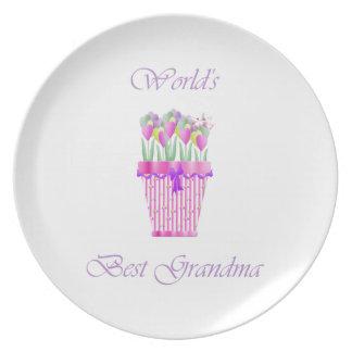 world's best grandma (pink flowers) melamine plate
