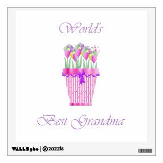 world's best grandma (pink flowers) wall decal