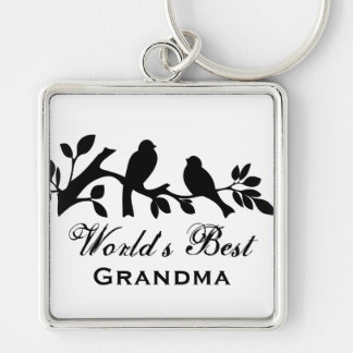 World's Best Grandma sparrows silhouette branch Keychain