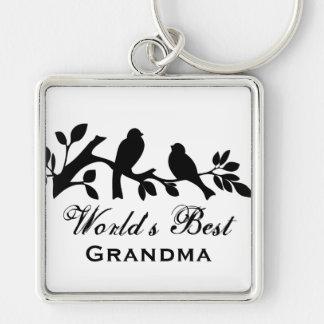 World's Best Grandma sparrows silhouette branch Keychain