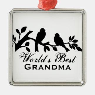 World's Best Grandma sparrows silhouette branch Metal Ornament