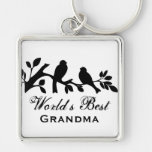 World's Best Grandma sparrows silhouette branch Silver-Colored Square Keychain