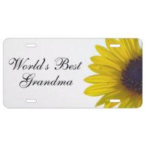 World's Best Grandma Sunflower License Plate