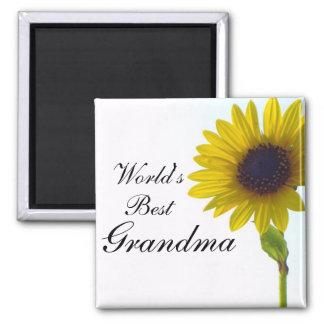 World's Best Grandma Sunflower Magnet
