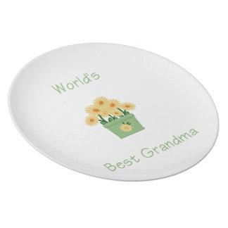 world's best grandma (yellow flowers) melamine plate