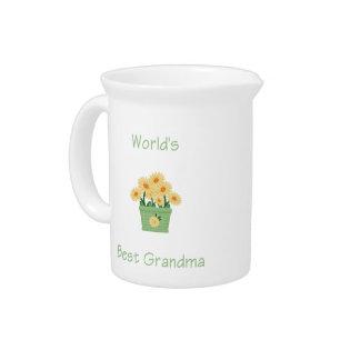 world's best grandma (yellow flowers) pitcher