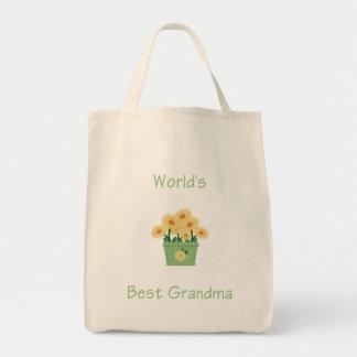 world's best grandma (yellow flowers) tote bag