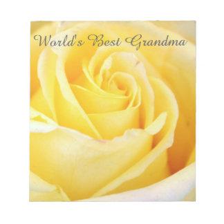 World's Best Grandma Yellow Rose Notepad