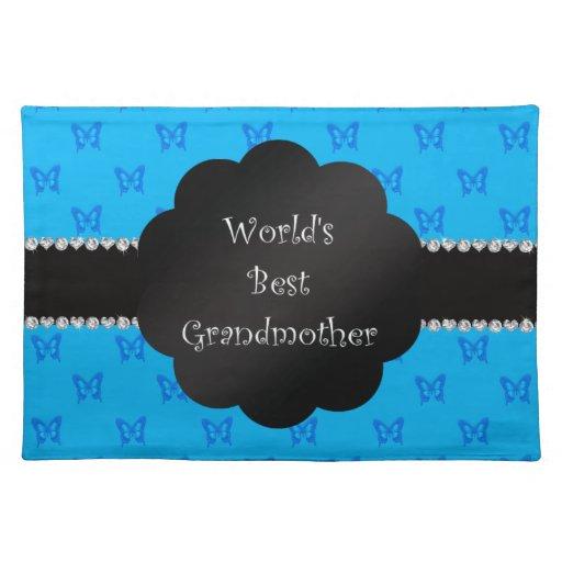 World's best grandmother blue butterflies cloth place mat