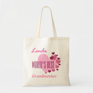Worlds Best Grandmother Custom Name Pink Hearts A1 Tote Bag