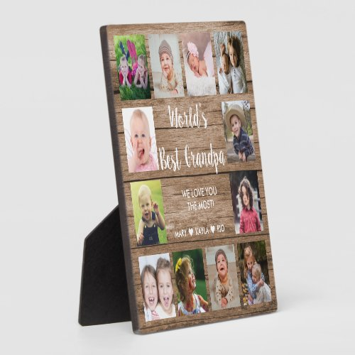 Worlds Best Grandpa 12 Photo Collage Rustic Wood Plaque