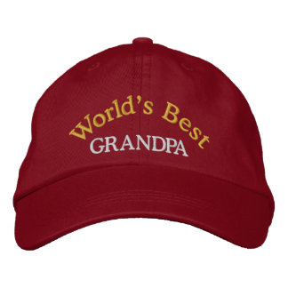 World's Best Grandpa Embroidered Baseball Cap/Hat Embroidered Baseball Cap